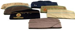 LOT OF 7 WWII OVERSEAS GARRISON CAPS SOME INSIGNIA