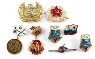 POST WWII RUSSIAN BADGE LOT OF 8