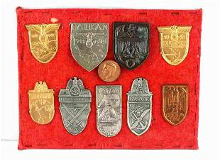 WWII GERMAN THIRD REICH LOT OF 9 SLEEVE SHIELDS