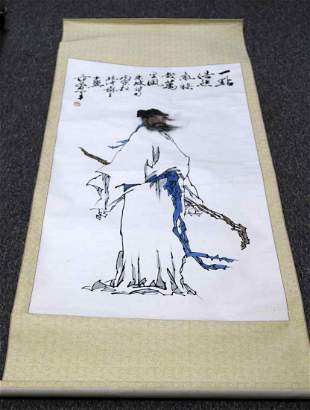 CHINESE CALIGRAPHY INK PORTRAIT FENG MENGLONG