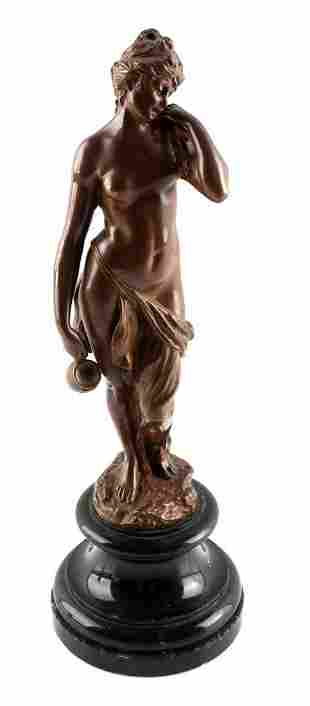 1896 ANTIQUE MAX LINDENBERG NUDE WOMAN WITH VASE