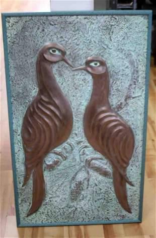 RALPH HURST LOVEBIRDS STONE WALL SCULPTURE