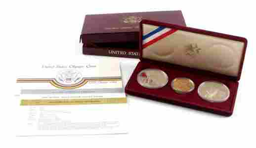 1984 US OLYMICS COIN SILVER & GOLD COIN PROOF SET