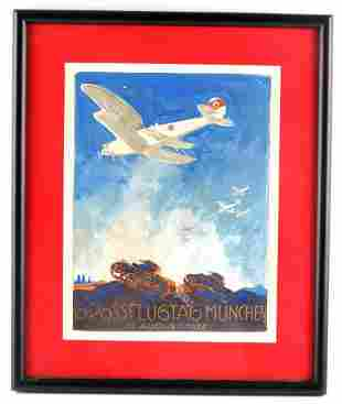 ORIGINAL GERMAN THIRD REICH AIR SHOW WATER COLOR