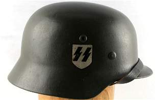 WWII GERMAN THIRD REICH SS DOUBLE DECAL M40 HELMET