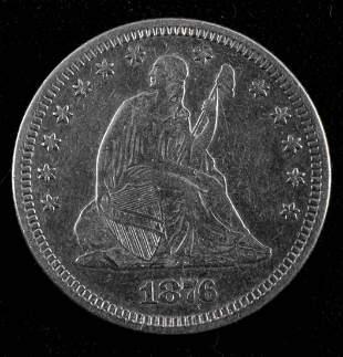 1876 SEATED LIBERTY SILVER QUARTER DOLLAR VF
