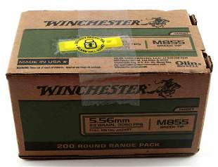 WINCHESTER 5.56 MM M855 GREEN DOT 200 ROUNDS AMMO