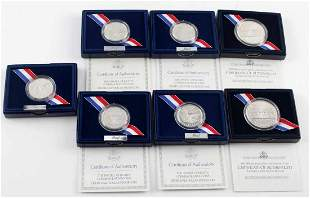 7 SILVER COMMEMORATIVE COINS BILL OF RIGHTS WHITE