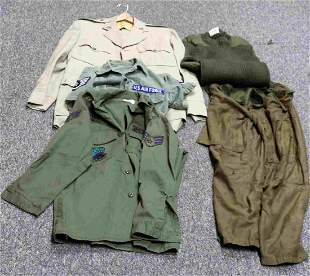LOT OF US AIR FORCE & ARMY SHIRTS & DRESS COAT