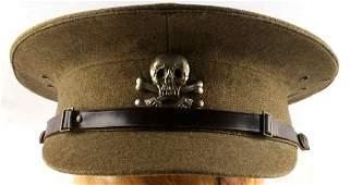 WWII BRITISH 17TH LANCERS PEAK CAP WOOL GREEN