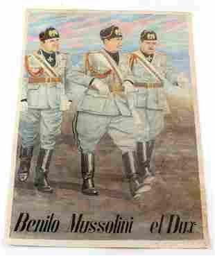 WWII ITALIAN NATIONAL MUSSOLINI PROPAGANDA POSTER