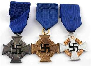 LOT 3 WWII GERMAN THIRD REICH LONG SERVICE MEDALS