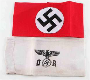 WWII GERMAN THIRD REICH LOT OF 2 NSDAP ARMBANDS