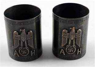 PAIR OF WWII GERMAN ADOLF HITLER NAPKIN RINGS