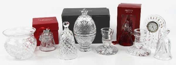 WATERFORD CRYSTAL LOT CLOCK CHRISTMAS & MORE
