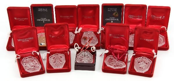 WATERFORD 12 DAYS OF CHRISTMAS FULL ORNAMENT SET