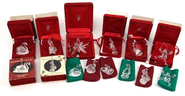 WATERFORD 12 DAYS OF CHRISTMAS MIXED ORNAMENT LOT