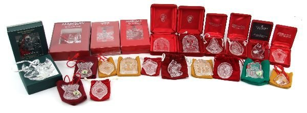 23 WATERFORD CRYSTAL DATED CHRISTMAS ORNAMENTS