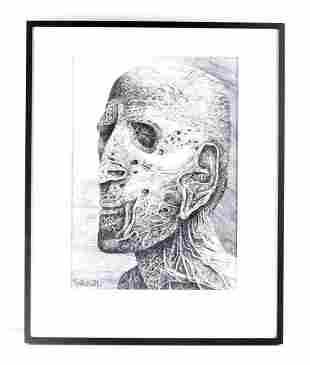 BEKSINSKI SURREALIST PORTRAIT IN GRAPHITE