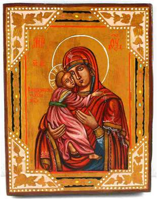 RUSSIAN ICON OF VLADIMIR MOTHER OF GOD WOODEN