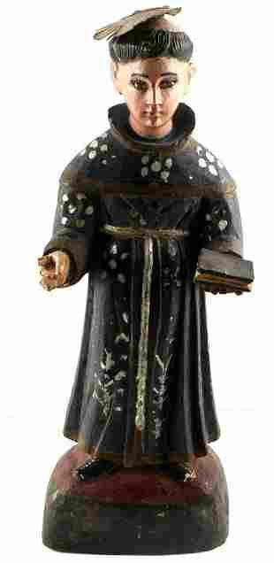 19TH CENTURY SANTOS PRIEST RELIGIOUS CARVED FIGURE