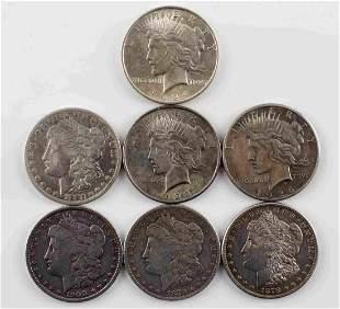 4 MORGAN & 3 PEACE SILVER DOLLAR COIN LOT