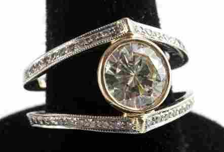 18KT GOLD 2 CARAT SOLITAIRE DIAMOND BEZEL SET RING