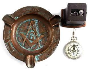 MASONIC POCKET WATCH CIGAR TRAY & GOLD TIE PIN