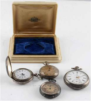 4 SILVER CASE ANTIQUE POCKET WATCH LOT OMEGA FAVRE