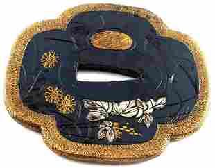 ANTIQUE JAPANESE SHAKUDO GOLD PLATED TSUBA