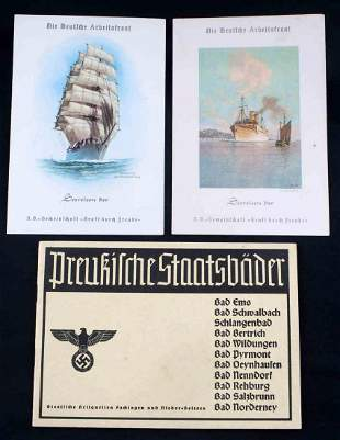 3 WWII GERMAN THIRD REICH KDF CRUISE & TOUR LOT