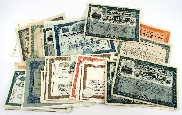 MIXED LOT OF SHARE CERTIFICATES