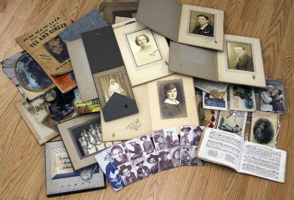 MIXED LOT OF EPHEMERA PHOTOGRAPHS POSTCARDS