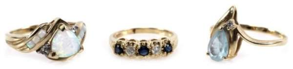 LOT LADIES 10K  14K OPAL DIAMOND  SAPPHIRE RINGS