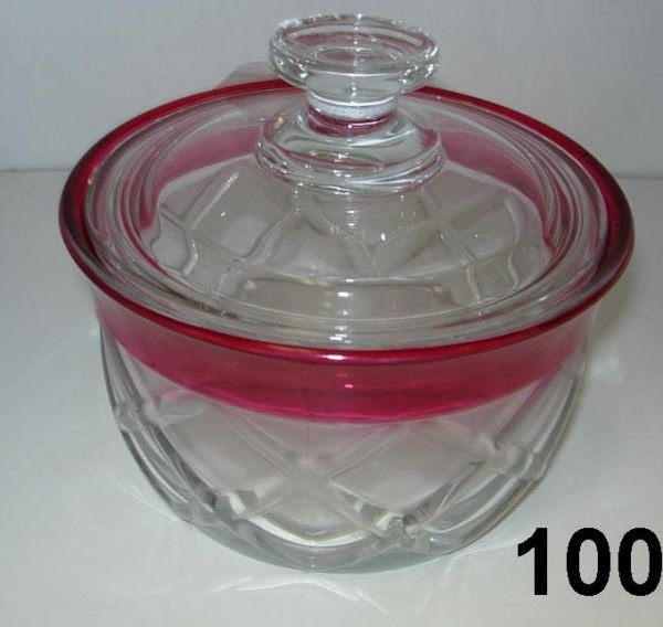 90100: ANTIQUE KINGS CROWN CRANBERRY CLEAR WAFFLE GLASS