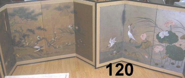 90120: ANTIQUE CHINESE SILK SCREEN BIRD PAINTING SCENE