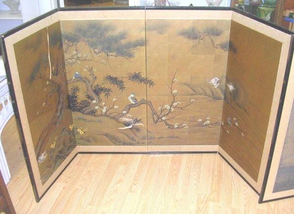 90120: ANTIQUE CHINESE SILK SCREEN BIRD PAINTING SCENE - 2