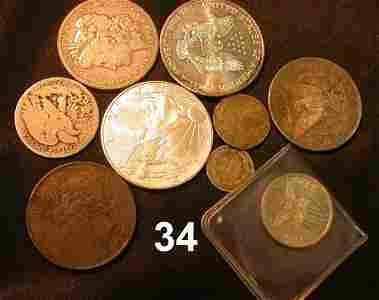 9034: US COIN LOT MORGAN PEACE EAGLE US WALKING 3 CENT