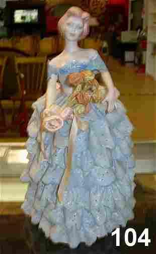 ANTIQUE PORCELAIN LADY FIGURINE UNMARKED BLUE DR