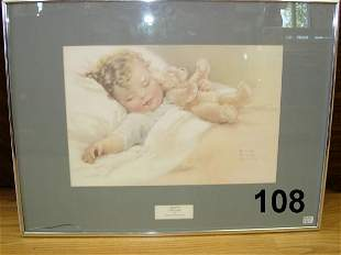 BESSIE PEASE GUTMANN PRINT BABY W TEDDY BEAR FRA