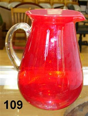 ANTIQUE RUBY RED PITCHER WITH CLEAR HANDLE