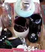 90264 VINTAGE GLASS BOX LOT  AVON BOTTLES OIL LAMP