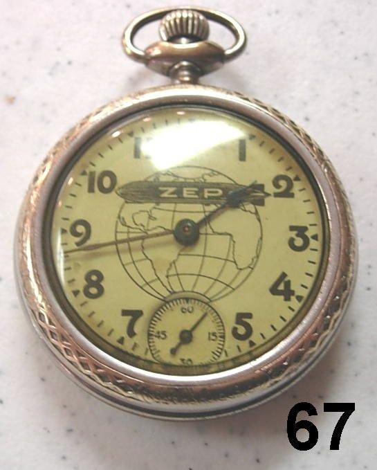 9067: ANTIQUE POCKET WATCH ZEP ZEPPELIN WATCH W SECOND