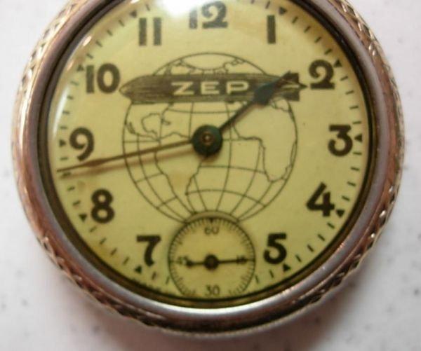 9067: ANTIQUE POCKET WATCH ZEP ZEPPELIN WATCH W SECOND  - 3