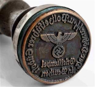 WWII GERMAN THIRD REICH SS DOCUMENT INK STAMP