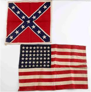 2 VINTAGE UNITED STATES FLAGS CONFEDERATE 48 STAR