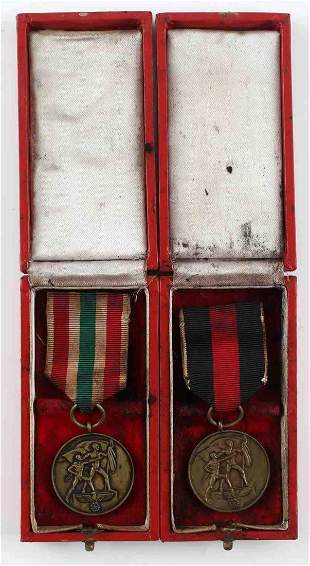 2 CASED WWII THIRD REICH CZECH AND MEMEL MEDALS