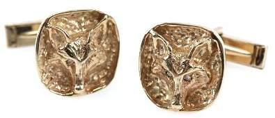 MENS 14K GOLD FOX CUFFLINKS W DIAMOND EYES