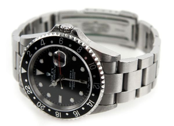 MENS ROLEX OYSTER PERPETUAL DATE GMT-MASTER II SS