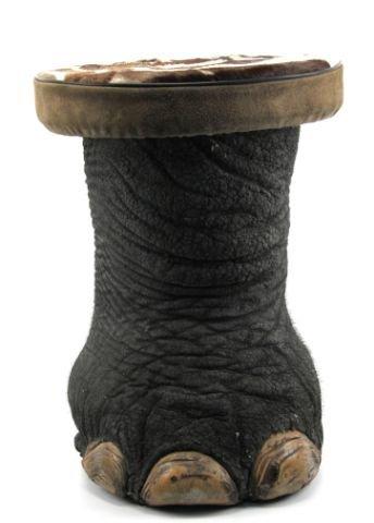 ELEPHANT'S FOOT STOOL WITH ZEBRA SKIN CUSHION